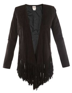 Haute Hippie Suede Fringe Leather black Jacket