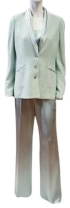 St. John NEW ST JOHN EVENING AQUA SILK METALLIC INTERWOVEN 3 PIECE SUIT JACKET SHELL PANTS 6
