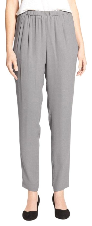 4b1102ed39d Eileen Fisher Silver Silk Georgette Crepe Slouchy Pants Size 26 ...