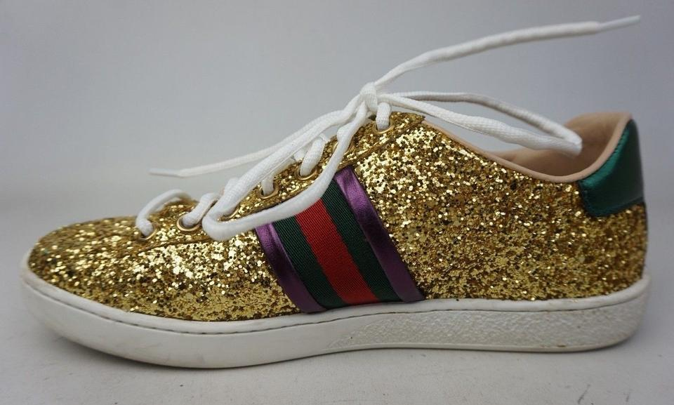 204babe4a2d Gucci Gold  new Ace  Glitter Covered Women s Sneakers Sneakers Size ...