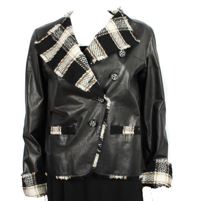 Chanel Moto Tan Tweed Trim Coat Blazer Leather Jacket