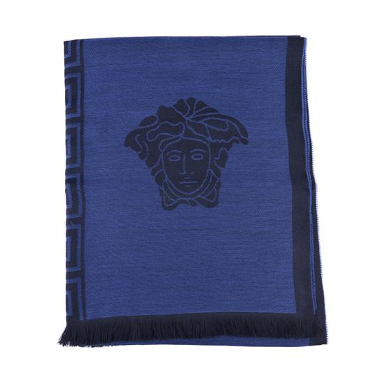 Versace Versace Blue 100% Wool Scarf Shawl One Size