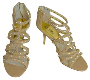 MICHAEL Michael Kors Studded Leather Suede Zippers Cage Khaki Sandals