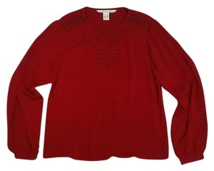 Diane von Furstenberg Dvf Silk Beaded Top red