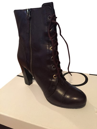 Ann Taylor LOFT Leather Lace-up Heel Brown Boots