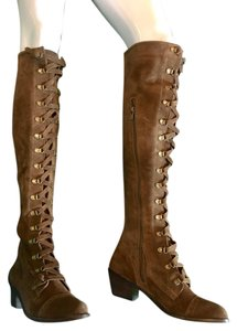 Free People Lace Up Tall Brass Hardware Oxford Detail Brown suede Boots