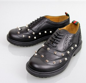 Gucci Black Kids Unisex Leather Studded Lace-up Sneakers G 33/ Us 2 297486 Shoes