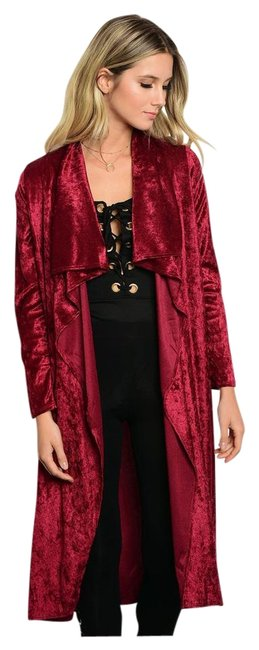 Preload https://img-static.tradesy.com/item/22151396/burgundy-new-crushed-velvet-midi-length-belted-cardigan-size-4-s-0-1-650-650.jpg