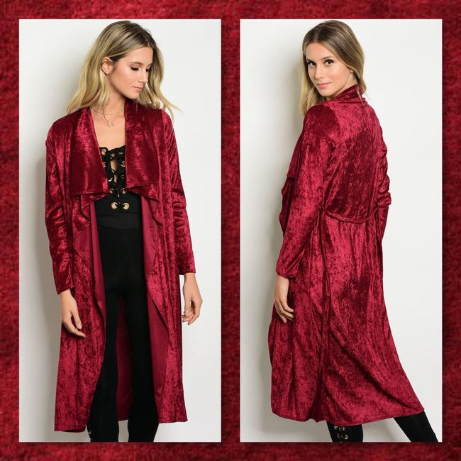 Other Kimono Midi Velvet Waterfall Duster Cardigan
