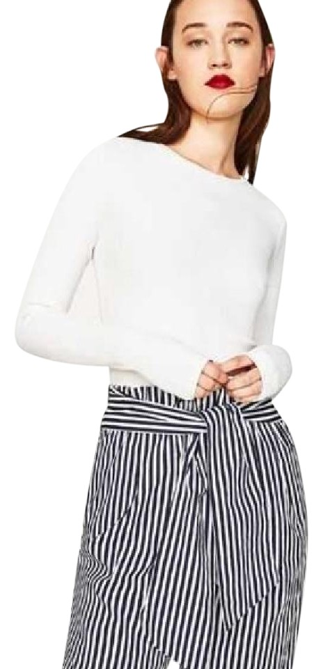 95157d51 Zara Navy/White Striped W/Belt Pants Size 8 (M, 29, 30) - Tradesy