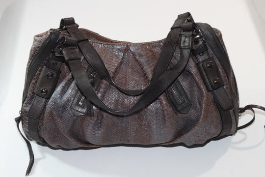 Michele Snake Print Magnetic Snap Large Satchel in Gray