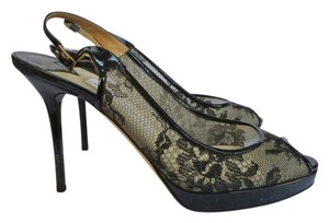 Jimmy Choo Lace Leather Slingback Platform Black Formal