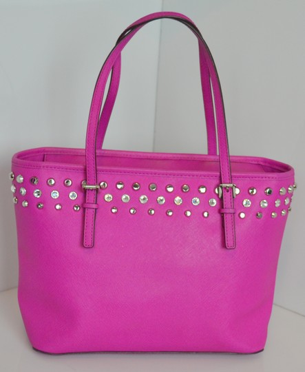 MICHAEL Michael Kors Leather Studded Crystal Tote in Pink/fuschia