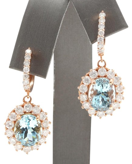 Other 11.00Ct Natural Aquamarine and Diamond 14K Solid Rose Gold Earrings