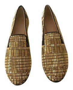 Giuseppe Zanotti Designed Gold Tone Studs Perforated Accent Made In Italy Black Flats
