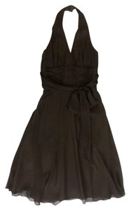 Maggy London Silk Halter Ruching Dress