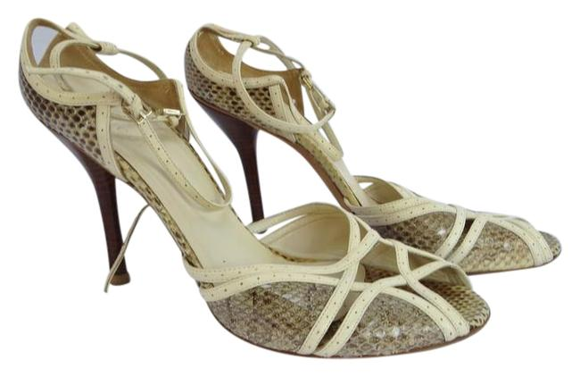 Item - Ivory / Grey / Taupe Snakeskin White & Leather Strappy Peep-toe High-heel Pump Sandals Size US 9.5 Regular (M, B)