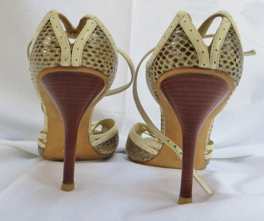 Gucci Ivory / Grey / Taupe Snakeskin Sandals