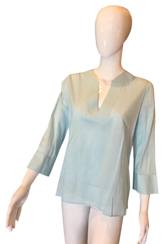 Gap Light Blue Tropical Weight Long Sleeve Cotton Peasant Blouse
