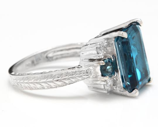 Other 7.75 Carats Natural London Blue Topaz and Diamond 14K Solid White Gold