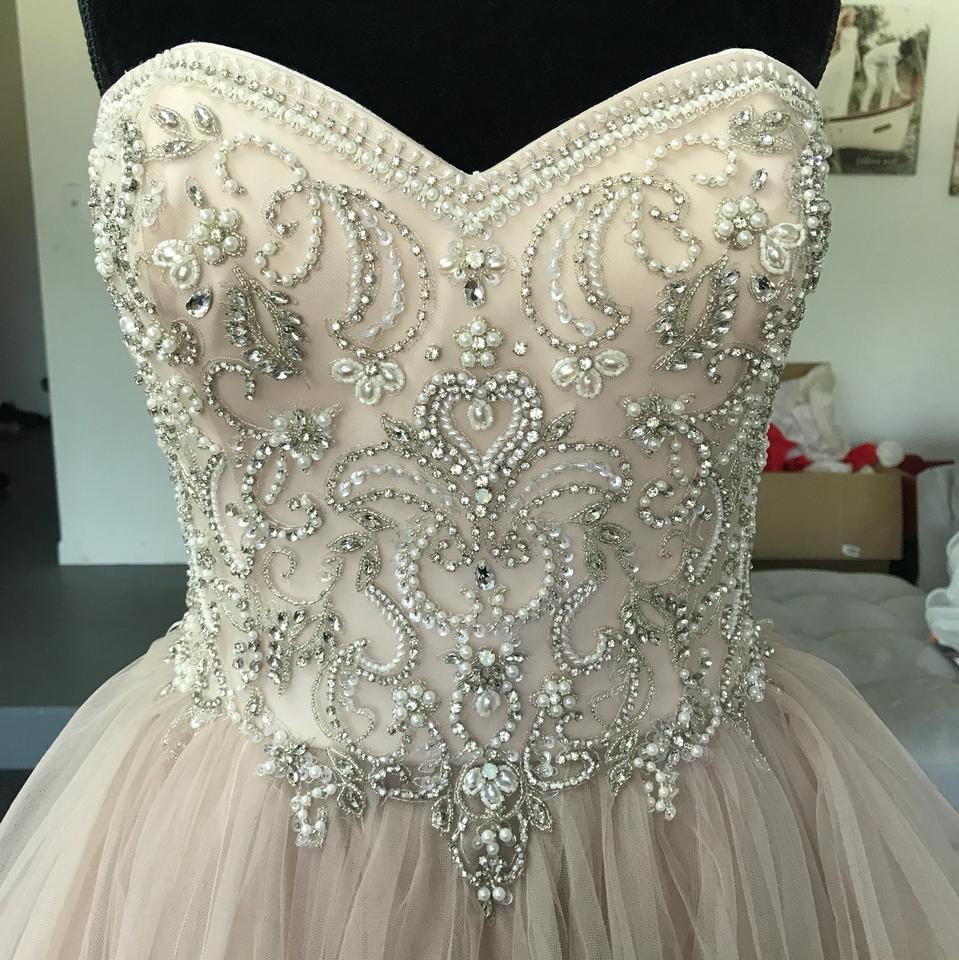 Used Plus Size Ball Gowns: Justin Alexander Sorbet/Silver Tulle 8847 Vintage Wedding