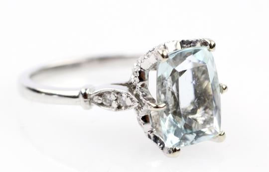 Other Natural Aquamarine and Diamond 14K White Gold Ring