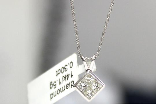 Other 14K White Gold Diamond Square Pendant Charm Necklace