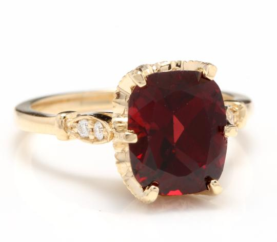 Other 3.68 Carats Natural Garnet and Diamond 14K Solid Yellow Gold Ring