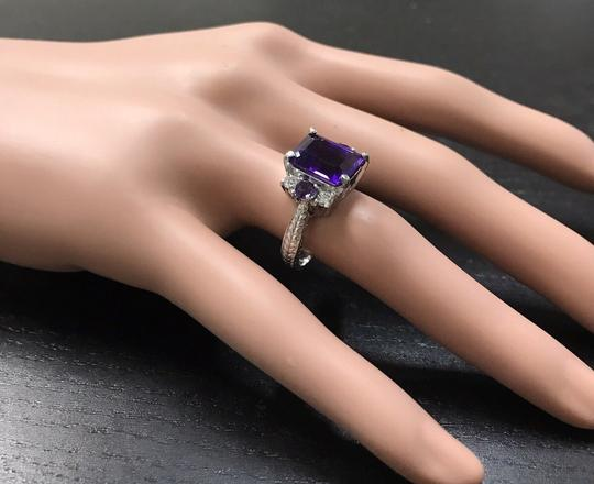 Other 4.70 Carats Natural Amethyst and Diamond 14K Solid White Gold Ring