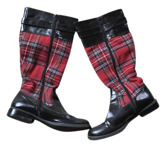 Envy Red plaid and black Boots