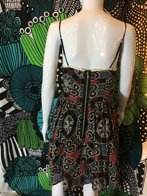 Moda International short dress Black brown multi Cotton Fit And Flare Sphagetti Strap Sweet Hear Neckline on Tradesy
