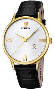 Festina Festina F16825-1 Dress Men's Black Leather Band With Silver Dial Watch