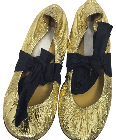 Lanvin Gold And Black Flats