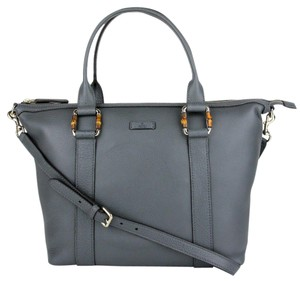 Gucci Leather Handbag Bamboo Detail Tote in Gray
