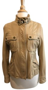 Massimo Dutti Leather Lambskin Spanish Brand Tan Jacket