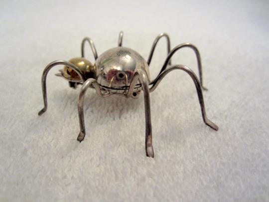 TAXCO Vintage Taxco Sterling Silver Gold Plated Spider Pin