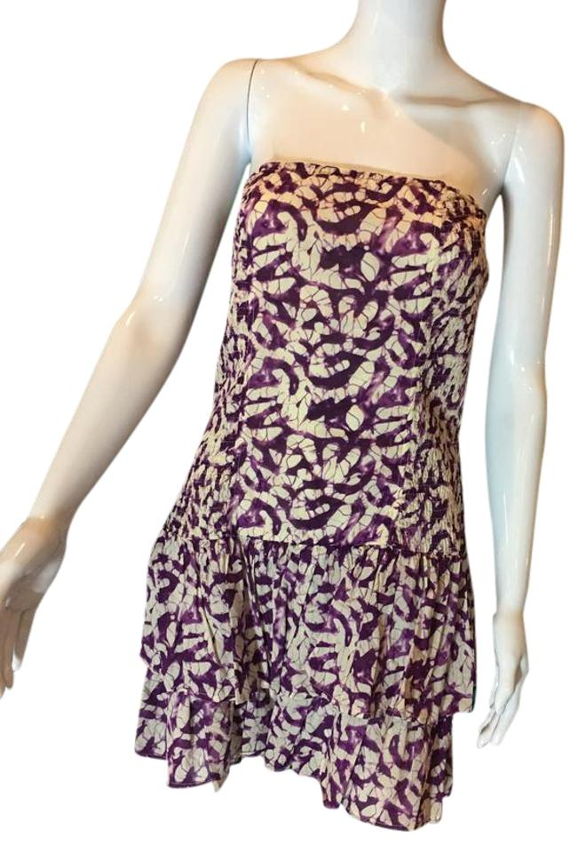 fd416825f70b Moda International Purple Off White Victoria s Secret Strapless Sleeveless  Cotton Sun Casual Dress