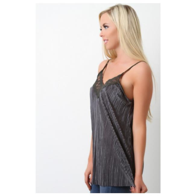 Jella Couture Camisole Pleated Lace Top Charcoal