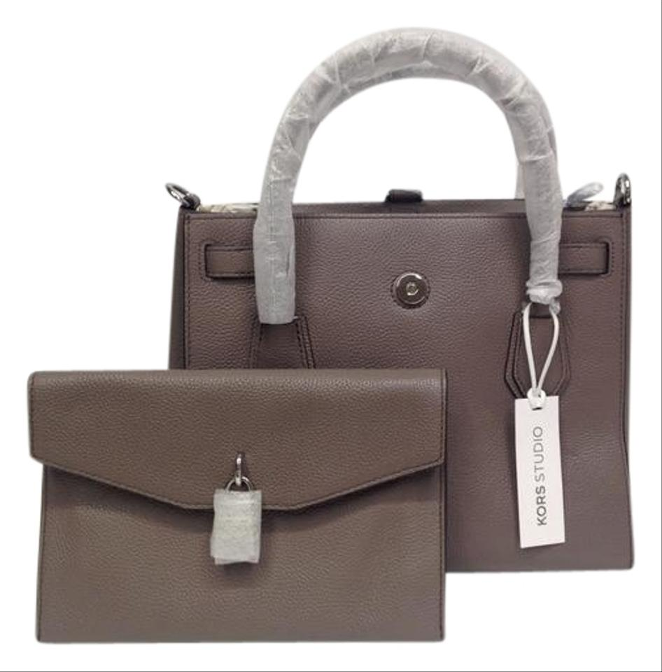 fa3ef1629284 Michael Kors Studio Mercer Large All In One Cinder Leather Satchel ...