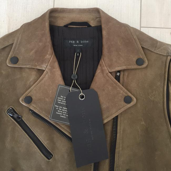 Rag & Bone Olive Motorcycle Convertible Lambskin Moss Leather Jacket