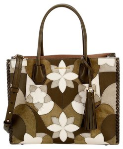18bfb20e99ba Michael Kors Convertible Patchwork Tassled Suede Mercer Tote in Olive Green