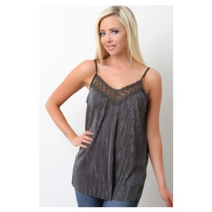 Jella Couture Lace Pleated Top Charcoal