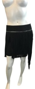Jay Ahr Fringe Suede Like New Mini Skirt black