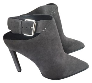Jeffrey Campbell Stiletto Ankle Strap Suede Pointed Toe Charcoal Boots