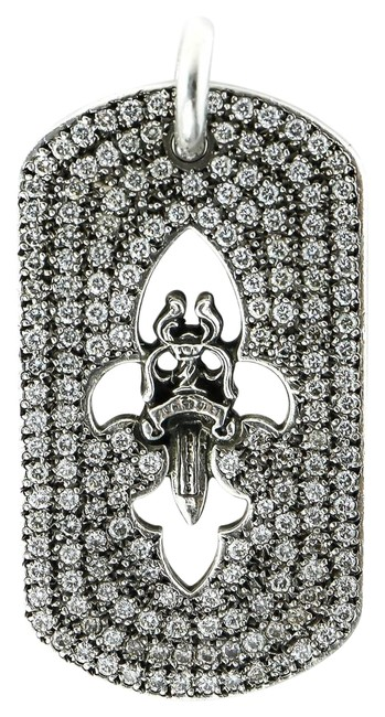 Item - Sterling Silver and Clear Brilliant Cut Diamonds * 5.1 Total Carats Of Paved Fair Dagger Dog Tag Charm