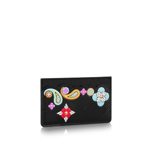 Louis Vuitton Black Epi Card Holder Monogram Flowers Limited Edition