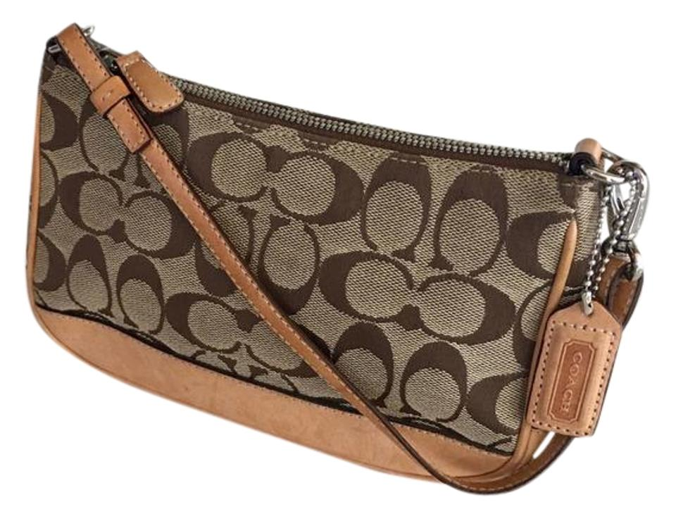 069b2d019a Coach  c  Monogram Demi Purse Wristlet Brown   Beige Signature Jacquard  with Leather Trim Baguette