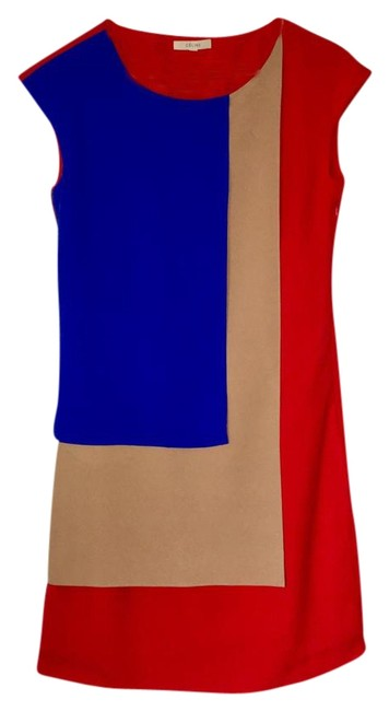 Item - Red Colorblock Shift Short Cocktail Dress Size 4 (S)