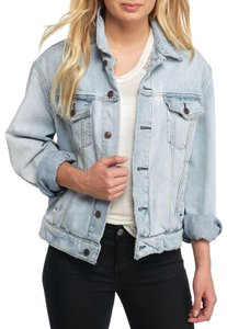 Free People Cotton Longsleeve Paisley Quilted Womens Jean Jacket