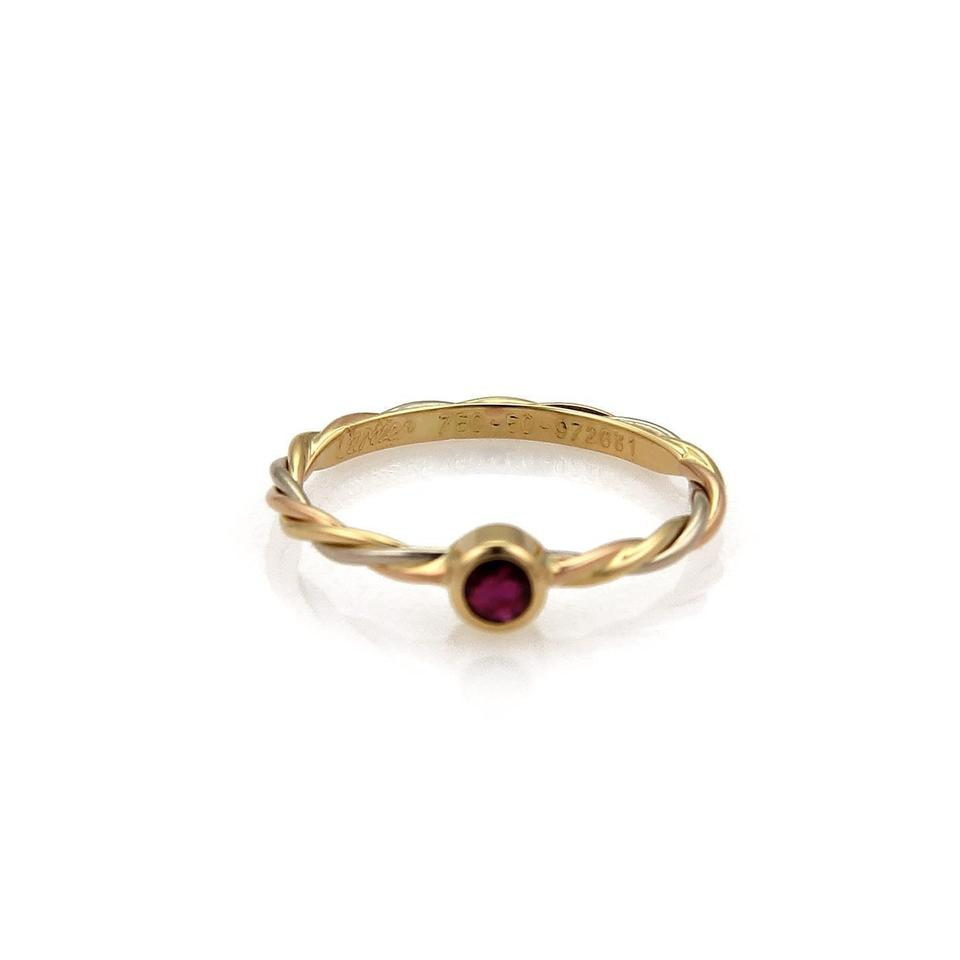 Cartier 21429 Ruby 18k Tricolor Gold Twisted Wire Band Ring - Tradesy